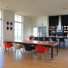 Contemporary Eat-In Kitchen With Custom Rolling Dining Table