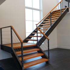 Contemporary Staircase With Stainless Steel Cable Railing