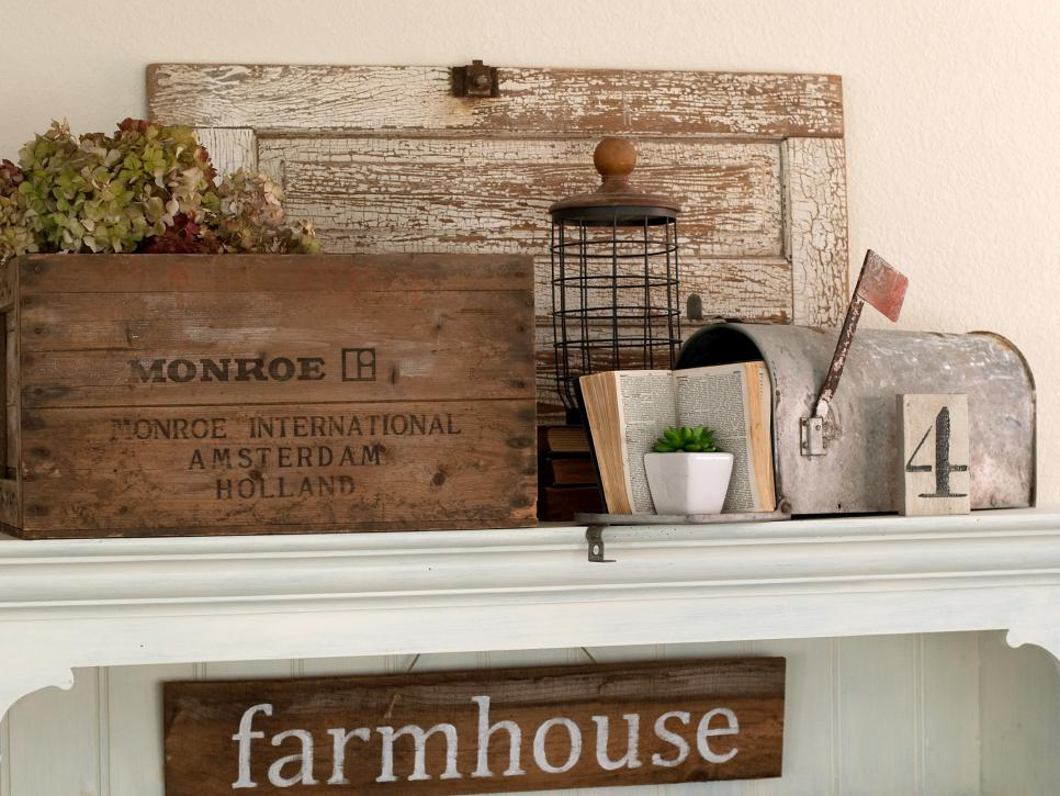 Country Chic Mantel with Mailbox and Crate