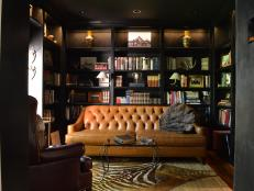 Rich Toned Woods and Fabrics in Luxurious Library