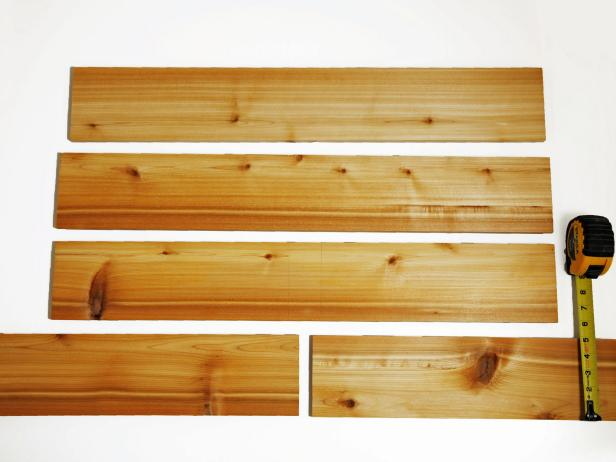 "Cut all cedar boards to 5"" wide or the height of your interior dimensions of the drawer."