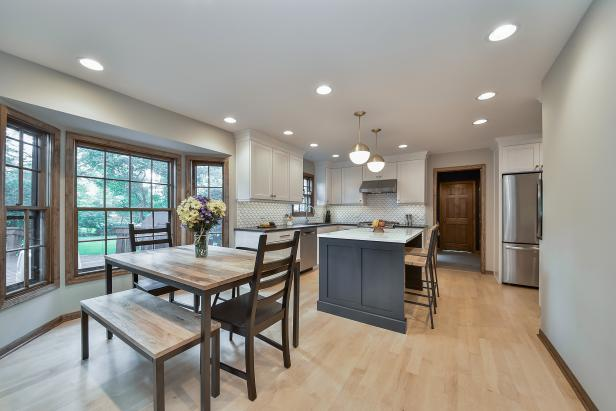 Gray Contemporary Eat-in Kitchen With Light Hardwood Floor