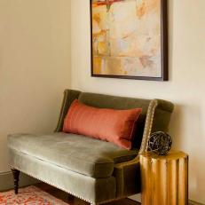 Sage Bench with Red Pillow in Entryway of Home