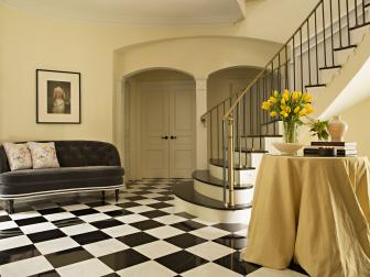 Foyer With Black and White Floor