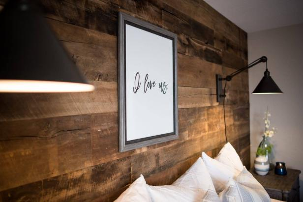 Rustic Industrial Master Suite with Reclaimed Wood Wall