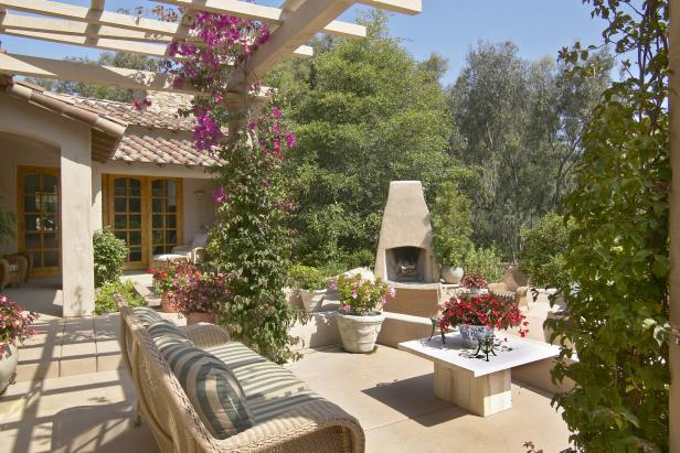 Tuscan Outdoor Living Space With Fireplace, Pergola