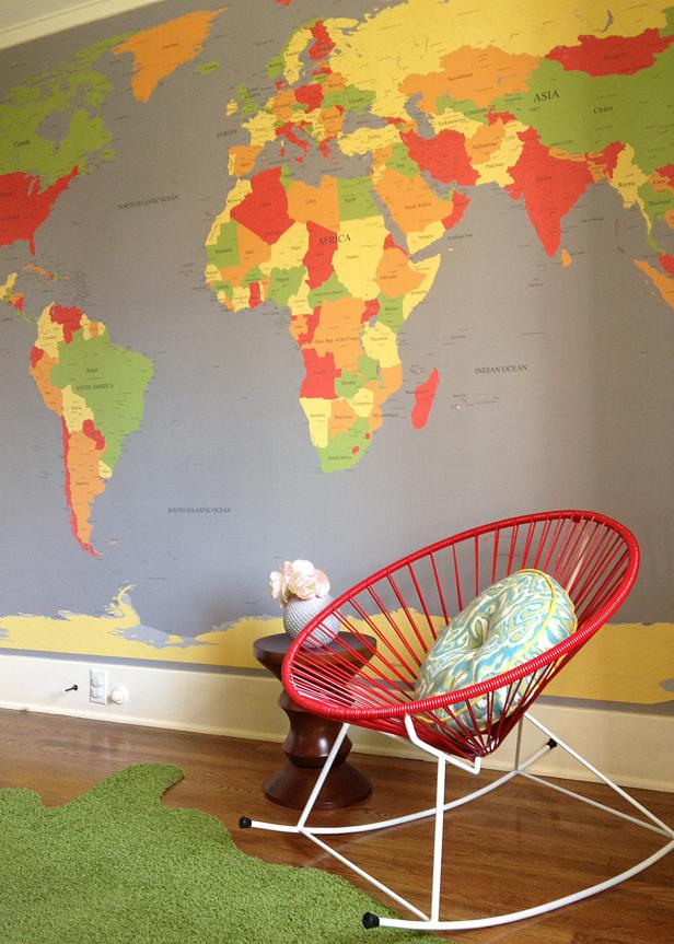 Red Chair Next to Wall with Large World Map