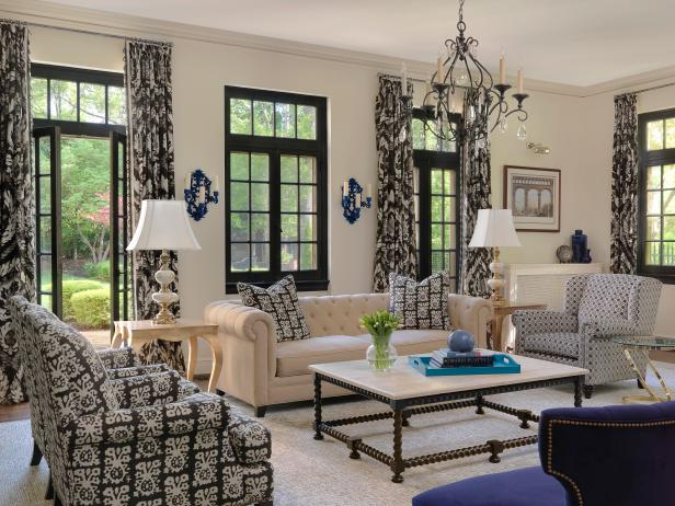 French Doors in Classic Black and White Living Room
