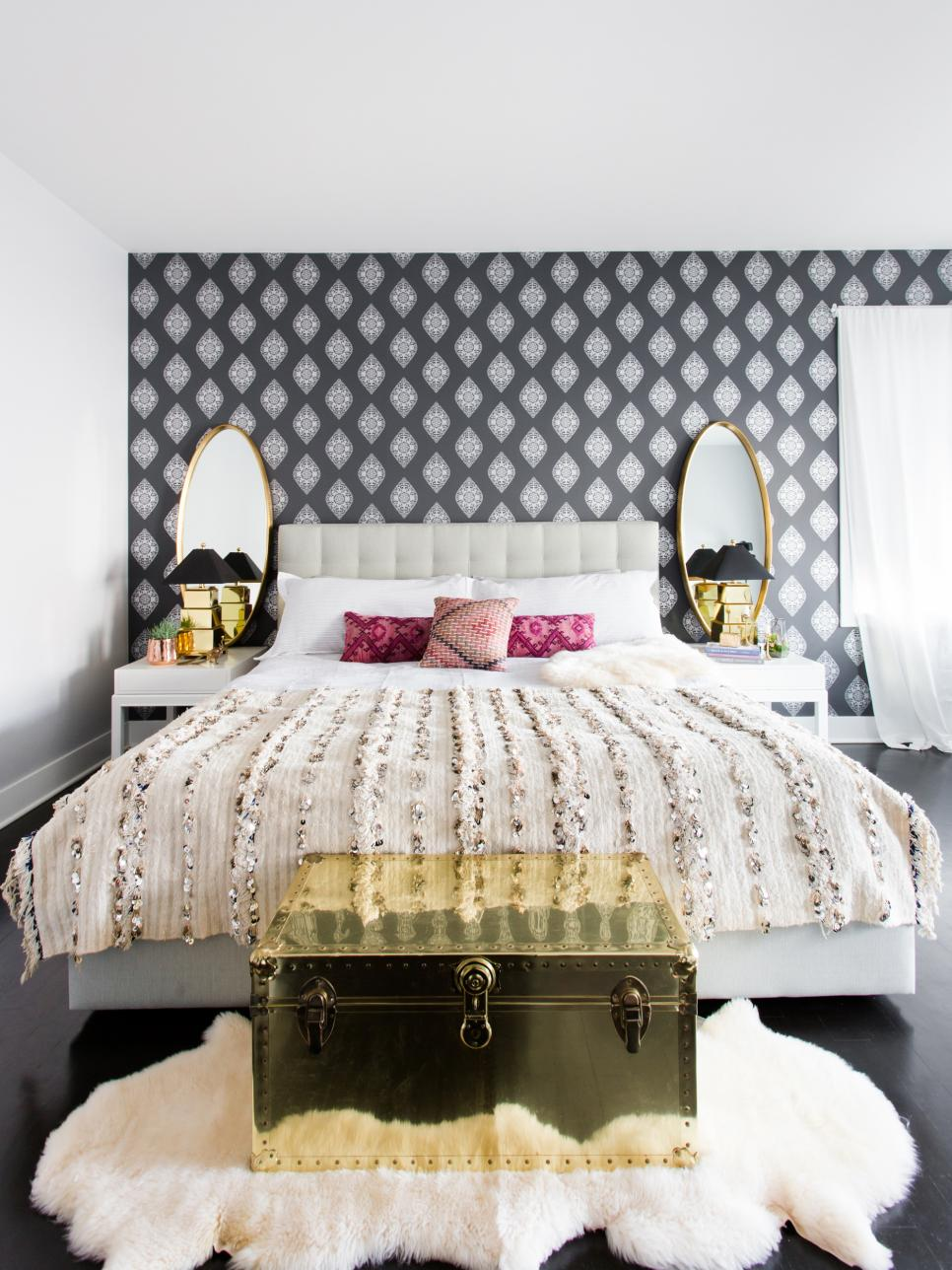 Glamorous Bedroom With Gray And White Wallpaper Accent Wall Hgtv