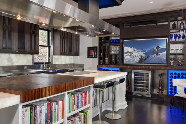 Contemporary Kitchen With Long Island, Stainless Steel Range Hood