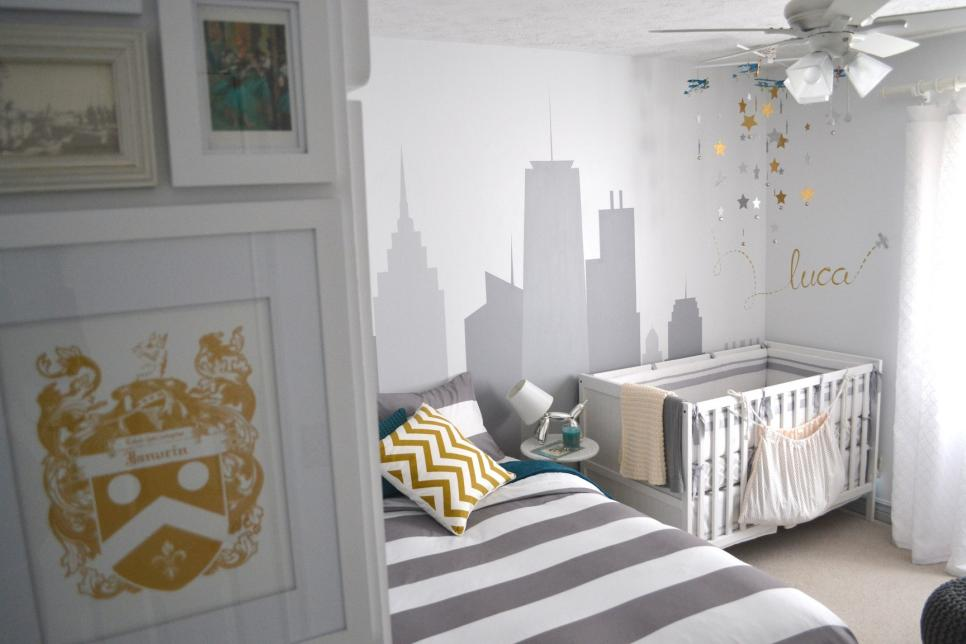Guest Room and Nursery with Gray, White and Gold Color Palette