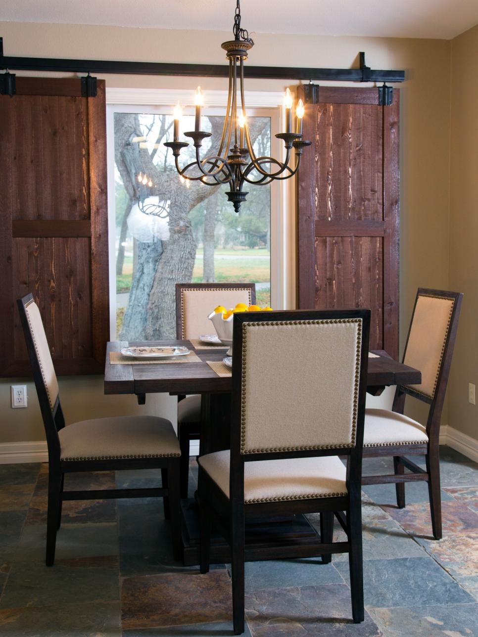 Breakfast Area with New, Barn Door Shutters