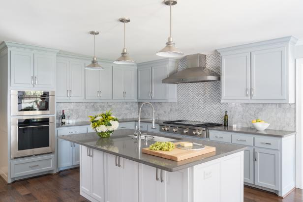 Gray Transitional Chef Kitchen With White Island