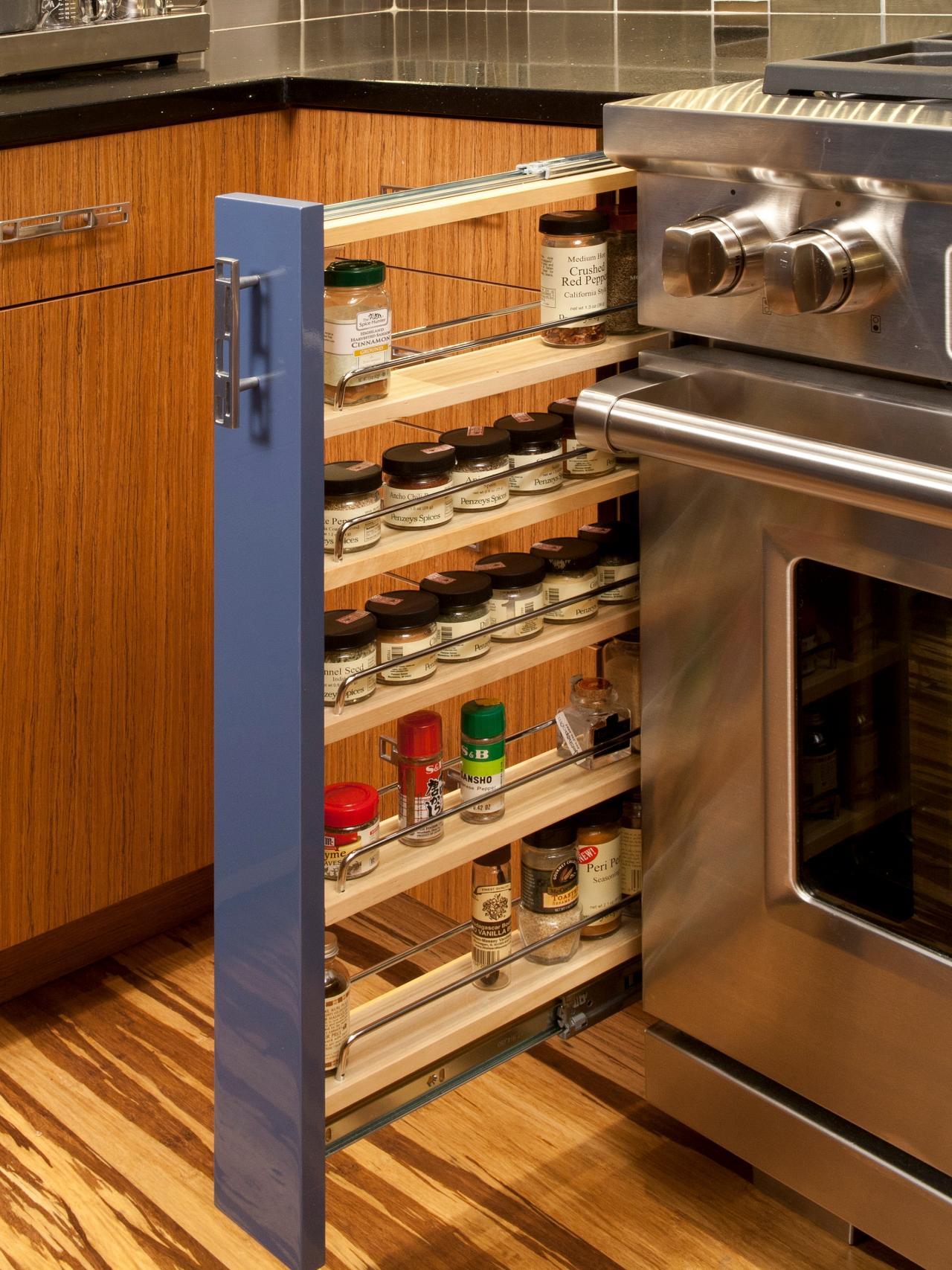 Sleek Modern Kitchen With Slide-out Spice Rack
