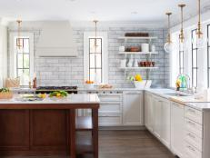 White Modern Kitchen with Tile Backsplash and Open Shelving