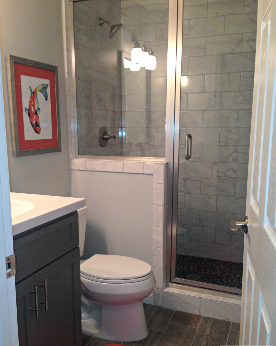 After: Transitional Bathroom with Ceramic Tile and Stand-up Shower