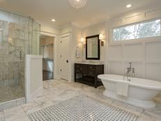 Luxury White Modern Bathroom with Wall Paneling
