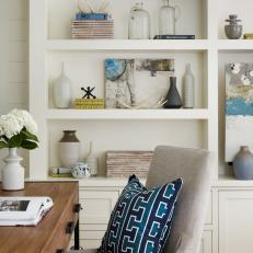 Fresh Home Office With Built In Bookshelf And Coastal Inspired Decor