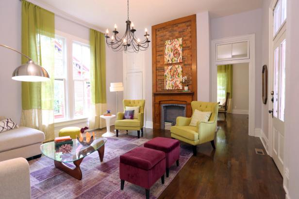 Lime Green and Purple Living Room With Red Brick Fireplace