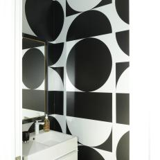 Contemporary Black-and-White Powder Room