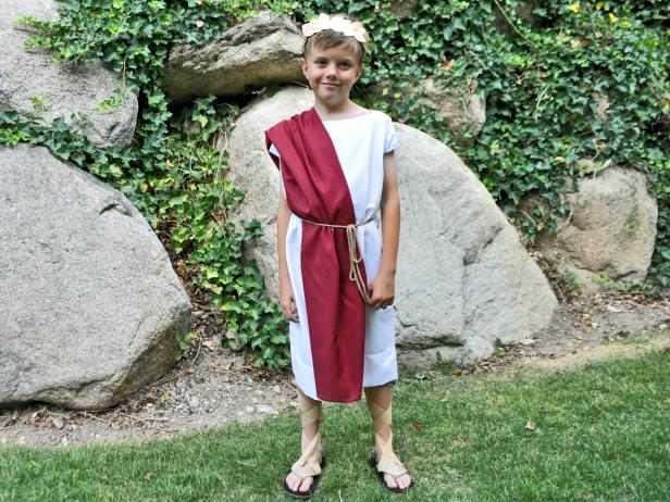 No-Sew Roman Toga Costume  sc 1 st  HGTV.com & Easy No Sew Toga Halloween Costume | HGTV
