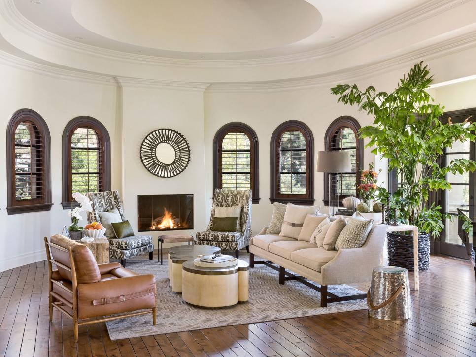 Neutral, Transitional Living Room With Fireplace, Arched Windows