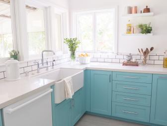 Blue and White Cottage Kitchen With Plants