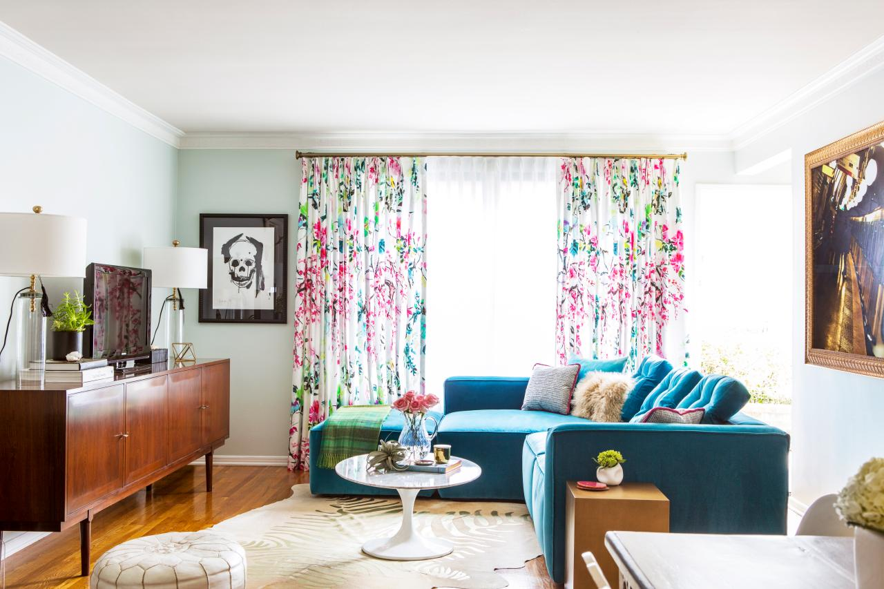 Blue Eclectic Living Room With Floral Curtains