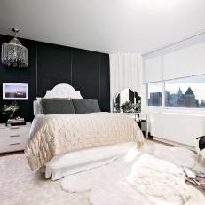 Black and White Art Deco Bedroom With City View