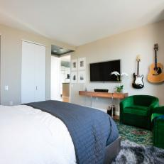 Contemporary Master Bedroom With Guitars