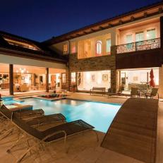 Mediterranean Back Patio and Swimming Pool