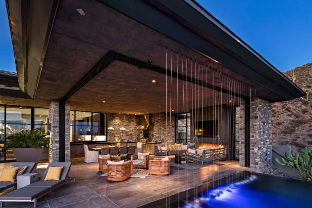 Contemporary Patio With Rainfall Water Feature