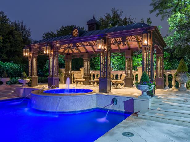 Elegant backyard includes custom cabana and formal gardens - Dallas home and garden show 2017 ...
