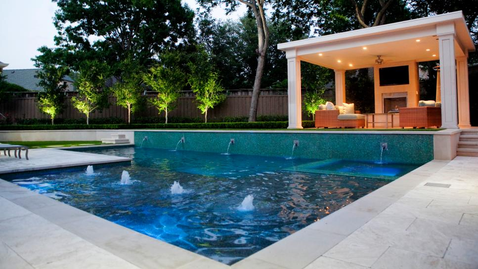 Contemporary Swimming Pool With Open Pavilion