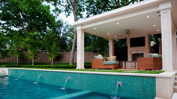 Contemporary Swimming Pool With Outdoor Seating Area