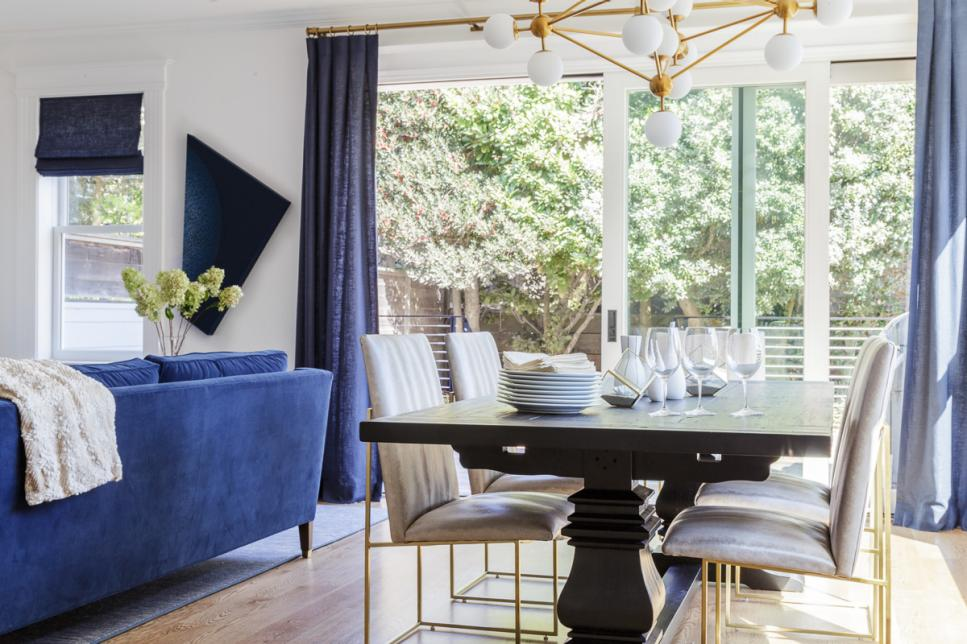 Blue-and-White, Contemporary Dining Room