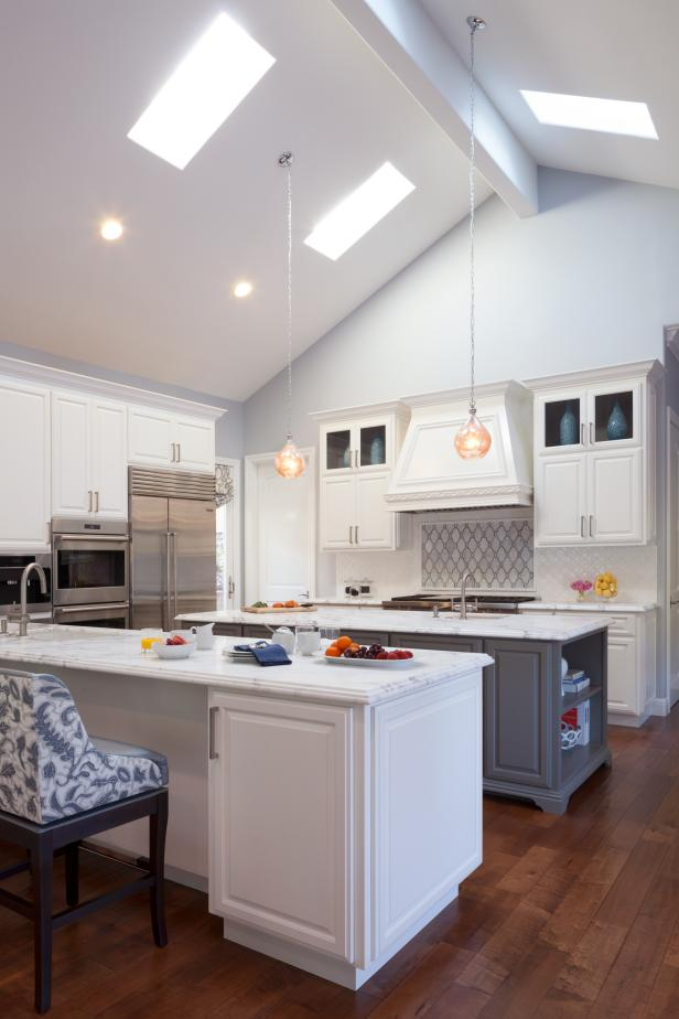 Blue Gray Kitchen With Skylights