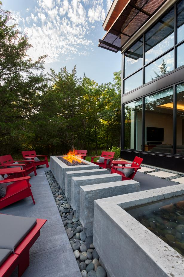 Contemporary Patio With Fire Pit and Water Feature