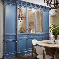Dining Area With Blue Custom Cabinet