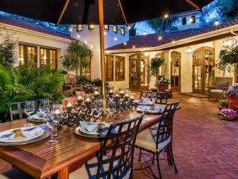 Inviting, Mediterranean Patio With Outdoor Dining