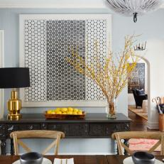 Black and White Geometric Artwork in Dining Room