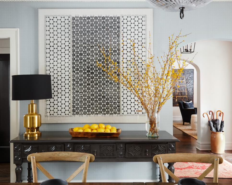 Geometric Black and White Artwork in Dining Room