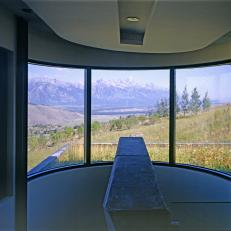Mountain View From Modern Home Interior