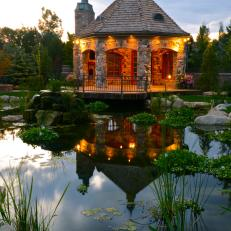 Rustic Pavilion With Beautiful Koi Pond