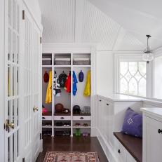 White Transitional Mudroom With Purple Pillow