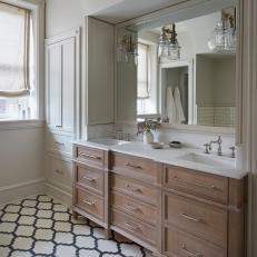 White Country Master Bath With Linen Shade