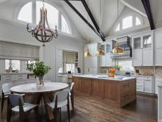 White Country Kitchen With Vaulted Ceiling