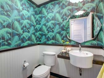 Green Tropical Powder Room With Palm Wallpaper