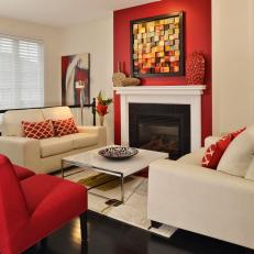 Neutral Living Room With Bold Red Accents