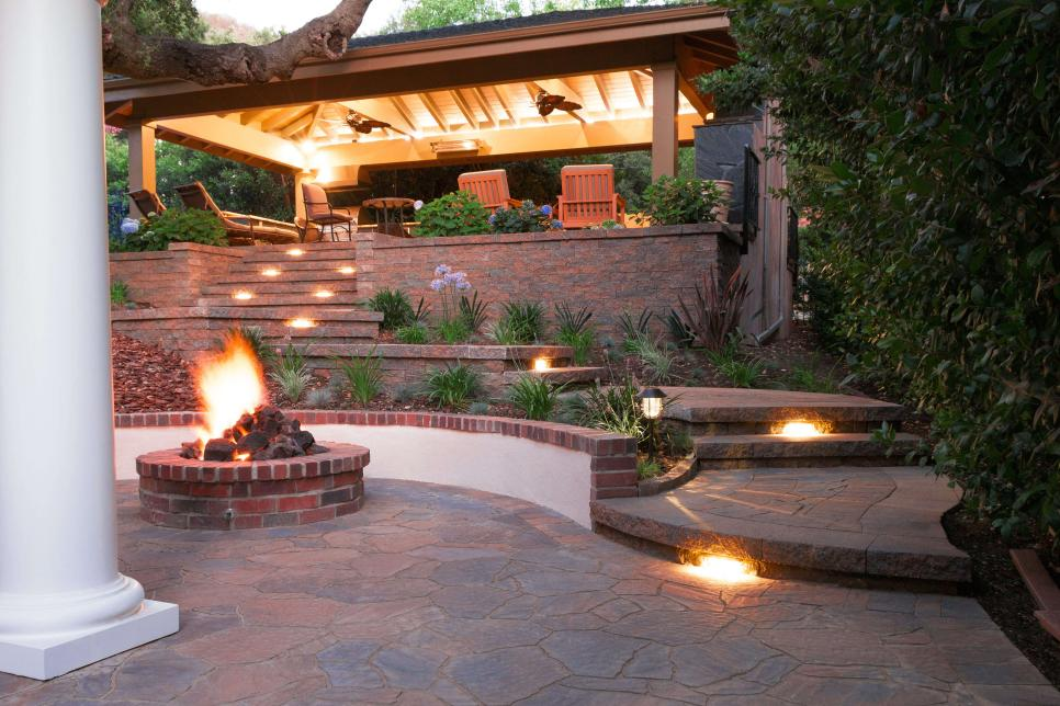 Raised Patio With Landscape Lighting